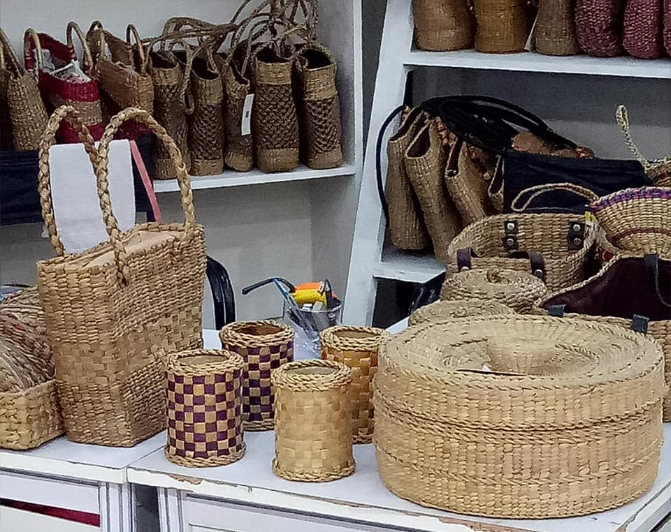 Hyacinth fibre handicrafts are exported by Aqua Weaves and artisan-entrepreneurs. In the domestic market, many retailers sell it under their own brand. Pic: Facebook/@aquaweaves