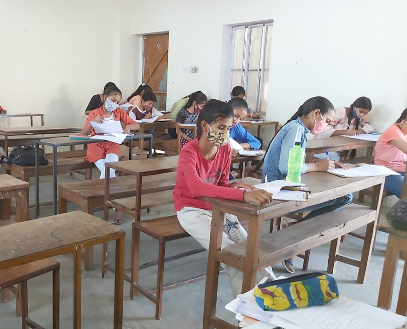 Underprivileged girls studying at the Sanganer Centre. Pic: SMILE