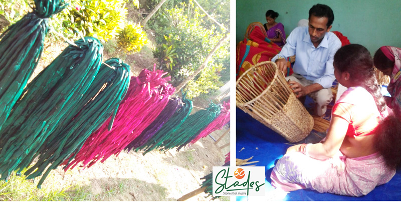 Hyacinth stems left for drying after colouring. Bipin Kalita guiding women in weaving (Right). Pic: Bipin Kalita 30 stades