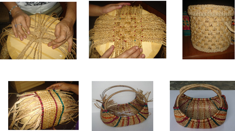 The process of weaving two different types of hyacinth fibre baskets. Pic: NEDFi Haat