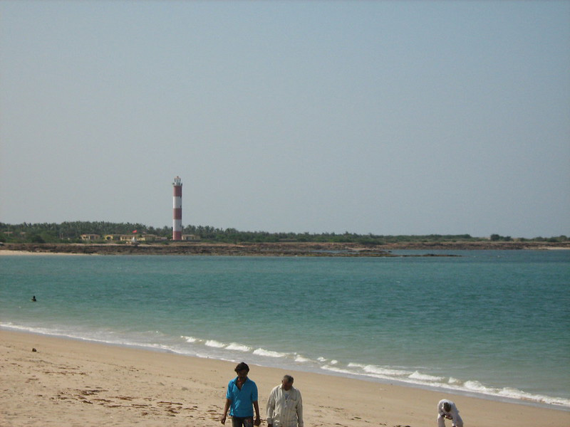 Shivrajpur - the pristine beach near the Shivrajpur village stretches between a lighthouse and a rocky shoreline in Dwarka, Gujarat. Pic: Flickr 30 stades