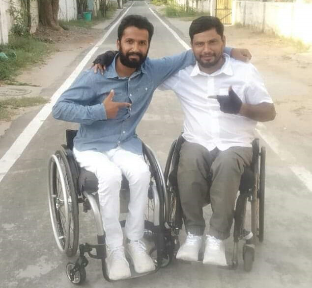 Imran Qureshi (left) with Lakhan Singh, who received training in 2019. Pic: courtesy Imran Khan 30stades