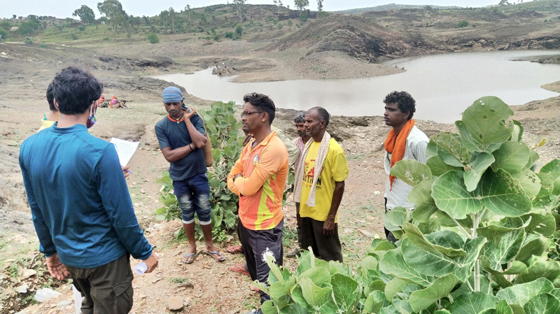 Water conservation is integral to biodiversity conservation. Pukaar volunteers talking to Alsigarh villagers here. Pic: Pukaar Foundation 30 stades