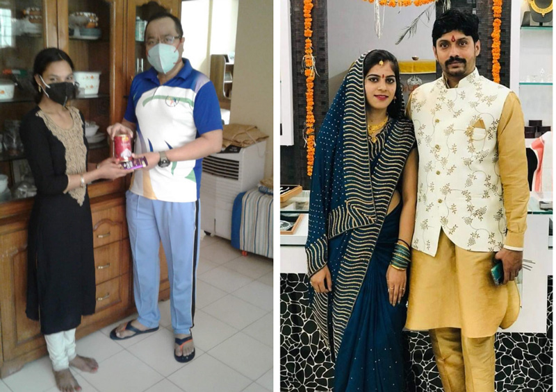 Abhijit with his student Vandana (left). Aarti Soni with her husband (Right). She recently got married and is pursuing M Com and preparing for Civil Services Examination. Pic: courtesy Abhijit C Chandra 30 stades