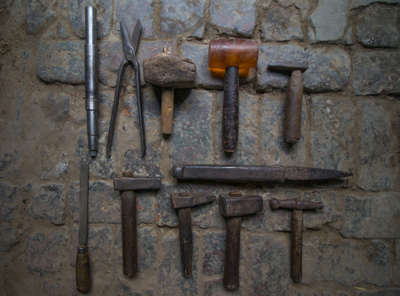A thathera artisan's only ally - his tools. Pic: P-TAL  30stades